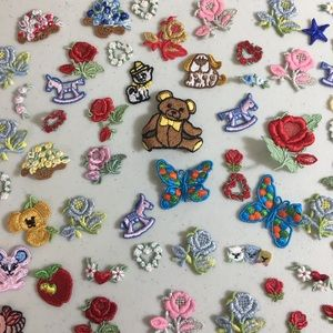 Vintage 55 pc Sew On Embroidery Patches Flowers ++